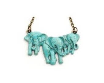 "Turquoise Elephants Necklace Hand Painted 30"" Antiqued Bronze Chain"