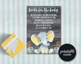 Bring a book Baby Shower Card, Elephant Baby Book Request Card PRINTABLE, Baby Shower Book request Elephant baby shower card Books for Baby
