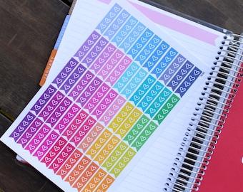 Planner Stickers Erin Condren Life Planner (Eclp) - 55 Flag Heart Checklist To Do Stickers (#7015)