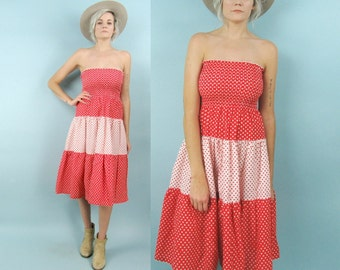 70s Polka Dot Strapless Dress, Size Small, Extra Small, Red and White Tube Top, Smocked, Tiered, Midi Length, Summer, Hippie, Cotton, Stripe