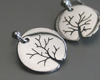 Silver Jewelry, Silver Jewellery, Silver Earrings, Tree Earrings, Winter Trees.
