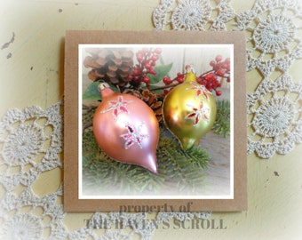 christmas photo note card vintage christmas ornaments note card  blank photo card greeting card stationery with matching envelope
