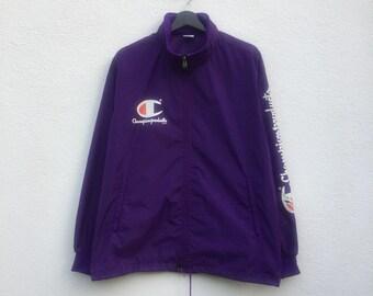 CHAMPION vintage 90s Champion Products big sleeves spellout zipper windbreaker light jacket L
