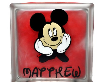 Mickey Mouse Night Light - Mickey Mouse Glass Block - Mickey Mouse Decorations - Mickey Mouse Lamp - Mickey Mouse - Disney Decorations