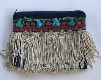 Fringe clutch blue