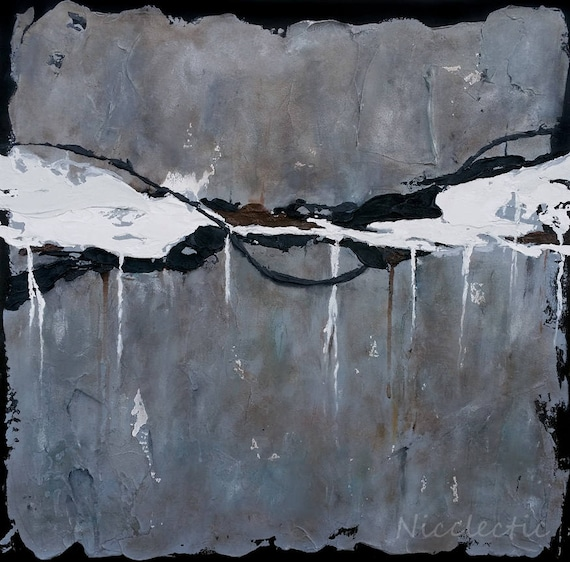 Black and white abstract art, Texture, Thick paint abstract painting, Dark emotional moody art, 24x24 inch square canvas, gray stucco heavy
