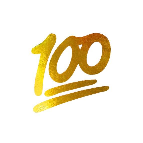 Gold Foil Print 100 Emoji One Hundred Fun Apartment Wall