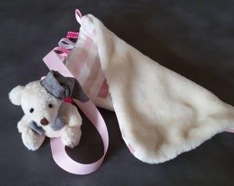 Pink Teddy bear tag blanket