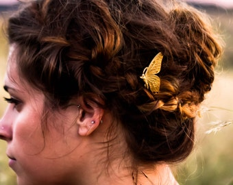 Gold Butterfly Hair Pin Woodland Themed Bobby Pin  Butterfly Hair Clip Wedding Hair Barrette  Summer Hair PIn