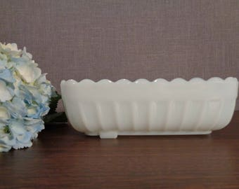 Rectangular Milk Glass Scalloped Edge Ribbed Planter