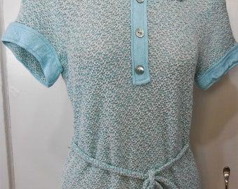 Vintage, Dress, Knit, Skinny, Crochet, Sweater, Mod, Carnaby, Twiggy, Size 10, 1960s knit, 60s Knit Dress, Mid Century Knit, blue, small