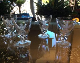 4 Vntg Etched Cordial Glasses