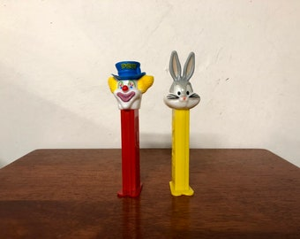 Vintage Pair of PEZ Dispensers Bugs Bunny and Bozo The Clown
