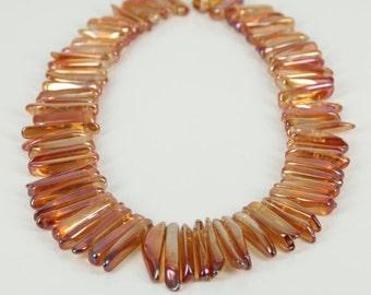 Natural Orange Smooth Quartz Crystal Points Pendants Beads,Approx 72pcs strand