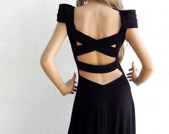 Open Back with epaulettes and cut-out details maxi dress - #95008