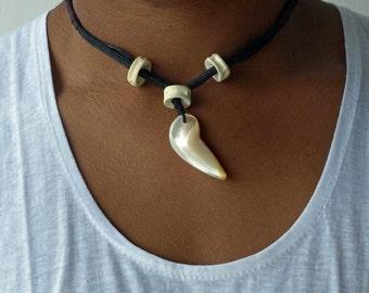 Tooth Necklace, Men's Necklace, Boho Men Necklace