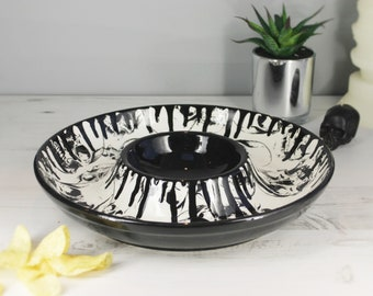 Chip Dip Platter, Gothic Skull Design, Party Serving Dish, Table Centrepiece, Goth Skulls, Weird and Wonderful, Ceramic Xmas gift, Christmas