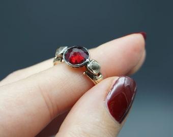 Georgian Rose Cut Garnet Paste and Diamond Paste Trilogy 14K Gold Ring / Antique Foil Back Silver and Gold Ring