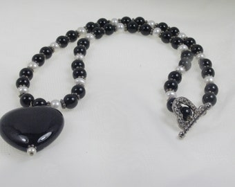 Black Onyx Heart & Pearl Necklace