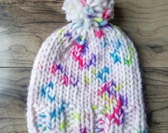 Knit chunky hat w/ pom pom, Women's Knit hat, Winter hat, Winter beanie, Knit beanie, kids hat, baby hat, Teen hat, Women's accessories Gift