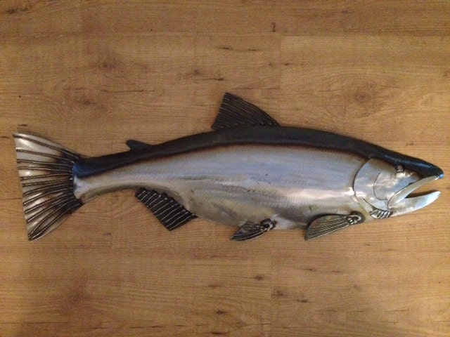 Salmon Metal Fish Wall Art Sculpture 30in Long Lodge Cottage Cabin Lake  River