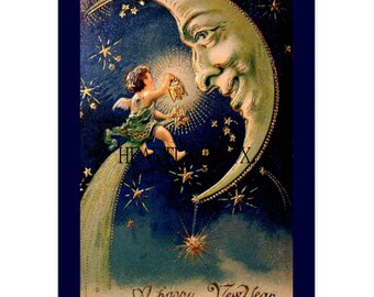 Vintage Victorian Antique Happy New Year Image Instant Download Printable Card