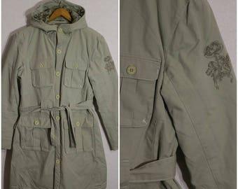 Jacket Coat Womens khaki Cotton with a hood Large Size