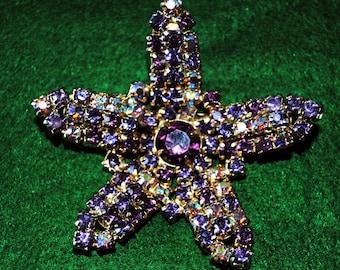 Vintage 1940's Gold Tone Starfish Brooch Amethyst color