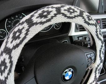 Knit Steering Wheel Cover/Cozy - aran/dark grey (KSWC6A)