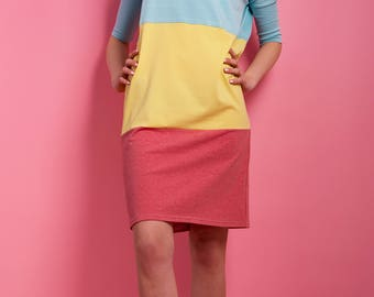 Oversize dress ' Icecream ' Summer dress jersey Turquoise Yellow Pink