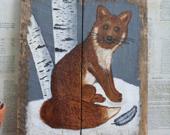 Vintage Rustic...Primitive...Cabin Fox Painting on Old Wood