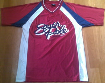 SOUTH POLE jersey, vintage Southpole t-shirt, white 90s hip-hop clothing, 1990s hip hop, OG, gangsta rap, size S