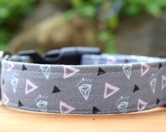 "Diamonds Dog Collar, 3/4"" or 1"" wide, Gems Fabric Collar for Dogs, Made in Australia, Small, Medium, Large or XL"