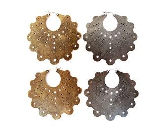 Crop Circle Hoop Earrings // New XL size!