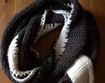 Handmade Crochet Black, Gray, and White Infinity Scarf
