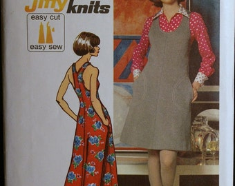 Vintage 1970s Sewing Pattern Womens Dress or Jumper in Two Lengths Pattern Simplicity 5308 Sz 12