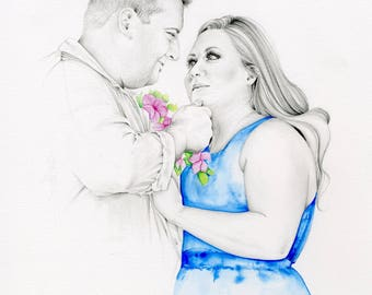 Couples Portrait Couples Portraits Portrait for Couples Gift Personalized Anniversary Gift Hand Drawn Couples Portraits Custom Couples Gift