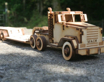 Wooden Model Mack Truck lorry flat bed low loader