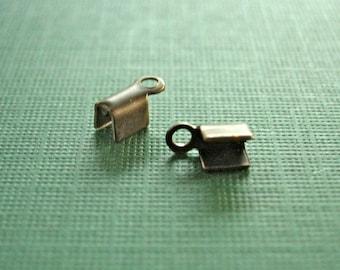 vintaj brass crimp ends, brass crimp ends,  2 pieces 8mm