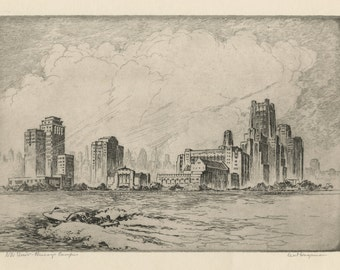 "KENT HAGERMAN (American, 1893-1978), ""NW University, Chicago Campus"", ca. 1935, original etching, pencil signed"