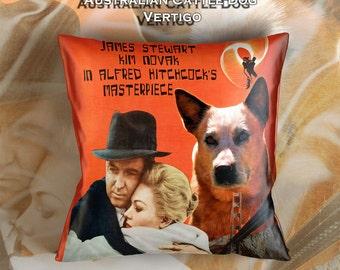 Australian Cattle Dog Art Pillow Case Throw Pillow - Vertigo Movie Poster  Perfect DOG LOVER Gift for Her Gift for Him