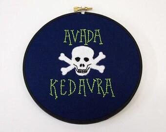 Avada Kedavra Harry Potter Inspired Embroidery Hoop Art. Skull + Cross Bones Killing Curse Embroidery Hoop Wall Art Stitched Text Dementor