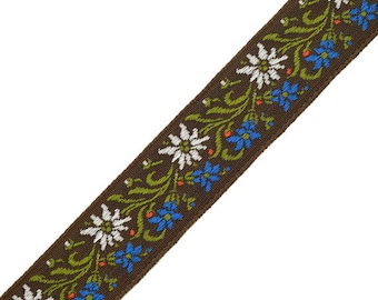 "5 Yards 7/8"" Vintage Floral Jacquard Ribbon Trim, woven jacquard ribbon, Brown, SP-2048"