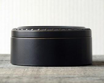 Black Round Needlework Box lined in black velvet Vintage Black finish Mother's Day Mom Jewelry Box