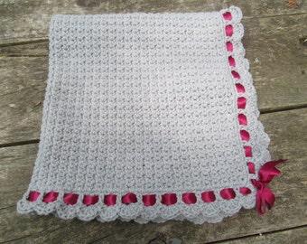 Gray Crocheted Baby Blanket with Maroon Ribbon
