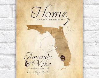 New House, Housewarming Gift,  Art Print, Map Home Key, First House, First Home, Newlyweds, Florida, Wedding, Moving, Gift for Wife