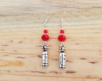 Silver and Red Fire Extinguisher Earrings, Red Fire Extinguisher Sterling Silver Earrings, Red Fire Extinguisher Earrings