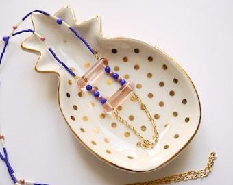 Miyuki and Bohemian glass sautoir Necklace