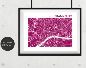 FRANKFURT Map, Frankfurt Travel Map, Frankfurt  Street Map, Frankfurt  Print, Frankfurt  Wall Art, Custom Map, Home Office Decor