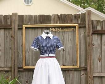 I Love Lucy Retro costume  - navy polka dot dress with apron